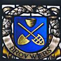 Detail brandglas met embleem van de brouwers